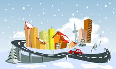 Colorful winter abstract vector city Stock Illustration