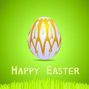 Stock Illustration of vector green paper card with white ornate easter egg