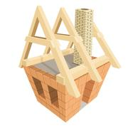 structure of house in construction. illustration - stock illustration