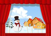 Stock Illustration of christmas puppet theater.village of snowman