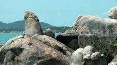 Thailand Ko Samui Island 019 grandfather rock looks like a phallus Stock Footage