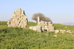 Ancient roman large build in Tell Kedesh - stock photo