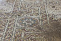 Ancient mosaic at Tell Shiloh Stock Photos