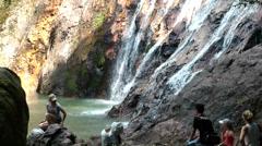 Thailand Ko Samui Island 016 waterfall flows into the lake Stock Footage