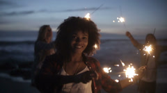 Stock Video Footage of Group of friends with fireworks