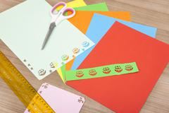 Colorful paper with flower Stock Photos