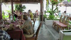 Thailand Ko Samui Island 064 beach restaurant scene Stock Footage