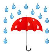 vector umbrella and rain drops - stock illustration