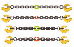 Vector illustration set of chains, weak or strong link concept Stock Illustration