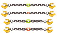 Stock Illustration of vector illustration set of chains, weak or strong link concept