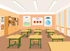 Stock Illustration of vector illustration of an empty classroom