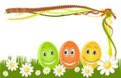 Stock Illustration of happy easter eggs on grass