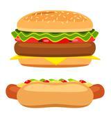 hotdog and burger on white background vector - stock illustration
