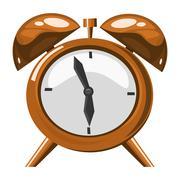 alarm clock on the white background - stock illustration