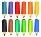 Stock Illustration of cartoon set of colored wood pencils