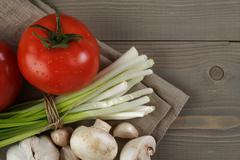 fresh vegetables on napkin - stock photo