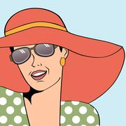 Stock Illustration of popart retro woman with sun hat in comics style, summer illustration