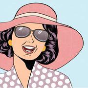 Popart retro woman with sun hat in comics style, summer illustration Stock Illustration