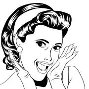 Popart retro woman in comics style Stock Illustration