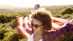 Stock Video Footage of Woman with stars and stripes