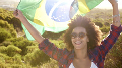 Woman with brazilian flag Stock Footage