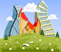Stock Illustration of abstract vector city on the hill