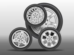 Stock Illustration of little car created from wheels