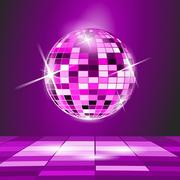 Stock Illustration of purple party background, disco ball