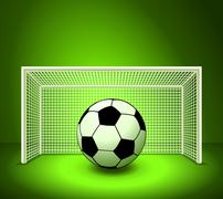Stock Illustration of vector soccer ball on the green field