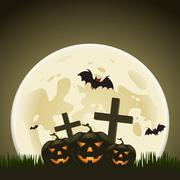 halloween background with pumpkins and moon in the back - stock illustration