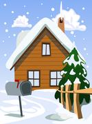 illustration of house in snow landscape - stock illustration