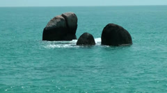 Thailand Ko Samui Island 022 group of three rocks in turquoise water Stock Footage