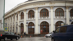Building of shopping arcade in Moscow Stock Footage