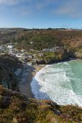 Coast view St Agnes North Cornwall England UK between Newquay and St Ives Stock Photos