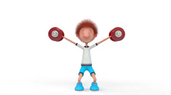 The 3D little boy with dumbbells. Stock Footage