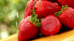 Strawberries with waterdrops Stock Footage