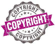 copyright violet grunge retro style isolated seal - stock illustration