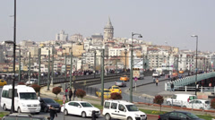 Time Lapse of Galata Brigde and Galata Tower in Istanbul, Turkey Stock Footage