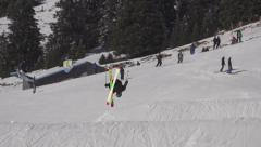 Back flip. Big air jump. Slow motion. - stock footage