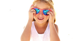 Girl with sunglasses is goofing around Stock Footage