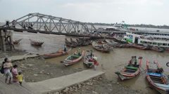 PORT, QUAY & JETTY:  ASIA - Pan from left to right with boats, ship horn audio Stock Footage