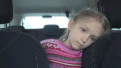 Bored, Unhappy Child no Safety Belt on a Trip in Car, Family Driving on Highway Stock Footage