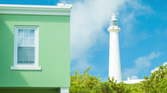 Gibb's Hill Lighthouse Adjacent to Bermudan Building Stock Footage
