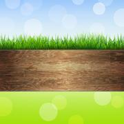 Wooden background with grass Stock Illustration