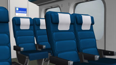 Close-up of modern train,train compartments passenger seat. Stock Footage