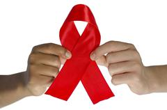 Aids ribbon with clipping path Stock Photos