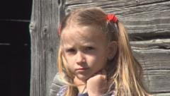 Stock Video Footage of Portrait of Upset, Unhappy Kid, Child Eyes, Sad Face Little Girl, Poor Children