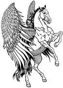 White pegasus black white Stock Illustration