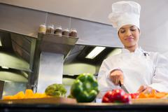 Female chef cutting vegetables in kitchen - stock photo