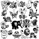 Stock Illustration of black and white set for kids